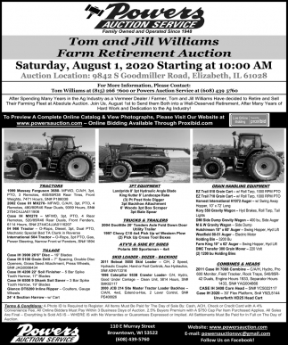 Tom and Jill Williams Farm Retirement Auction