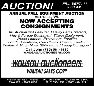 Annual Spring Equipment Auction