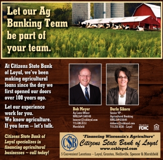 Let Our Ag Banking Team Be Part of Your Team
