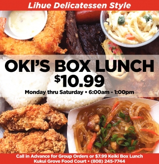 Oki's Box Lunch $10.99