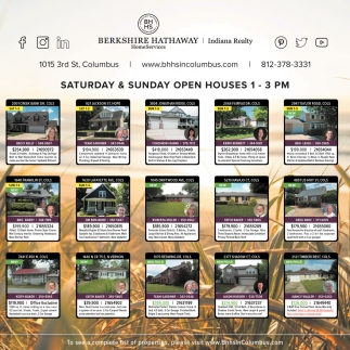 Saturday & Sunday Open Houses 1 - 3 PM