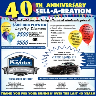 40th Anniversary Sell-A-Bration