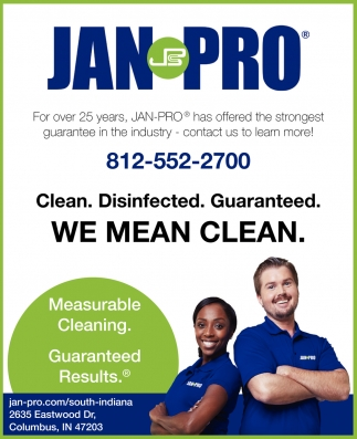 Clean. Desinfected. Guaranteed. We Mean Clean.
