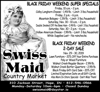 Black Friday Weekend Super Specials