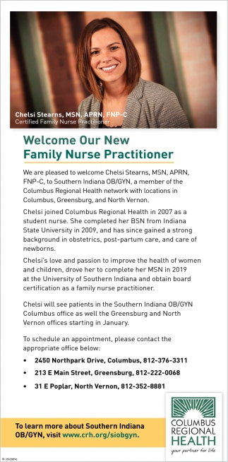 Welcome Our New Family Nurse Practitioner
