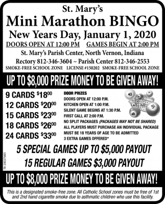 St. Mary's Mini Marathon Bingo