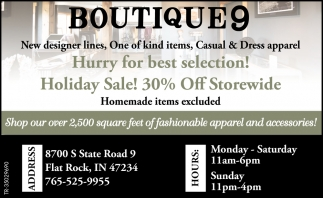 New Designer Lines, One Of Kind Items, Casual & Dress Apparel