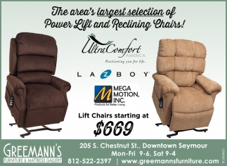 The Area's Largest Selection Of Power Lift And Reclining Chairs!