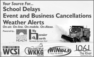 Your Source For School Delays, Event And Business Cancellations, Weather Alerts.