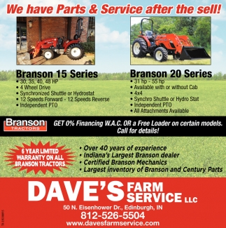 We Have Parts & Service After The Sell!