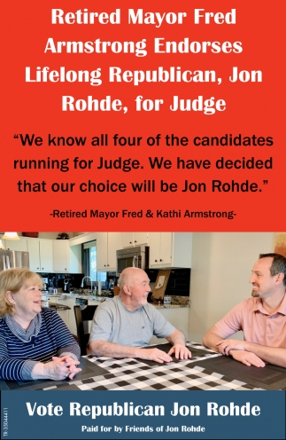 Retired Mayor Fred Armstrong Endorses Lifelong Republican, Jon Rohde, For Judge
