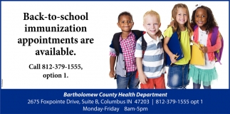 Back To School Immunization Appointments Are Available