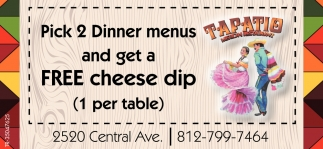 Pick 2 Dinner Menus And Get A Free Cheese Dip