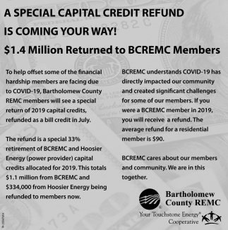 A Special Capital Credit Refund