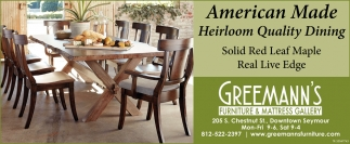 American Made Heiloom Quality Dining