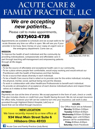 We Are New Patients Acute Care Family Practice Llc Judy Boris Ms Fnp Bc