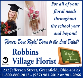 For All your floral needs throughout the school year and beyond