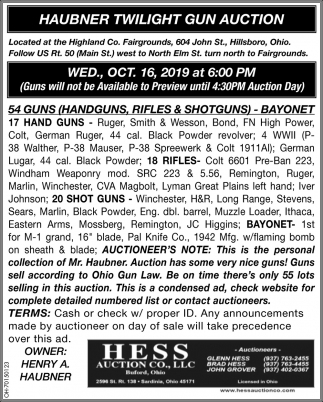Haubner Twilight Gun Auction - Oct. 16