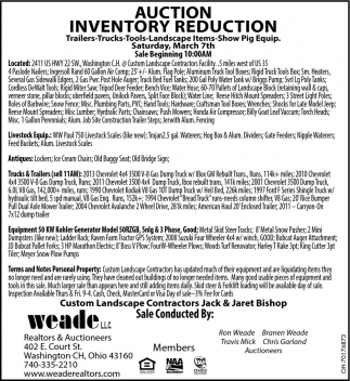 Auction Inventory Reduction - March 7th