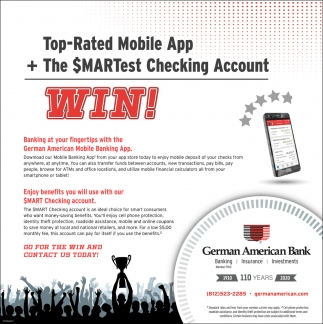 Top-Rated Mobile App + The Smartest Checking Account