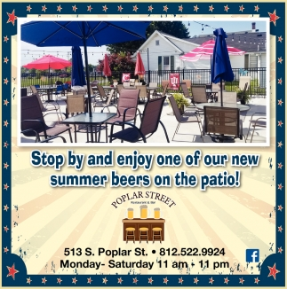 Stop By And Enjoy One Of Our New Summer Beers On The Patio!