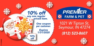 10% Off Any One Regular Priced Item.