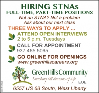 Hiring Full Time, Part Time Positions