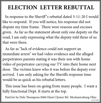 Election Letter Rebutal