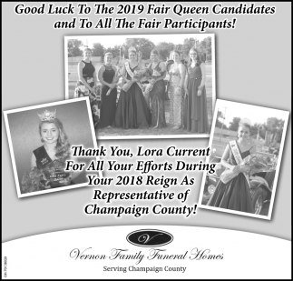 Good Luck To The 2019 Fair Queen Candidates and To All The Fair Participants!