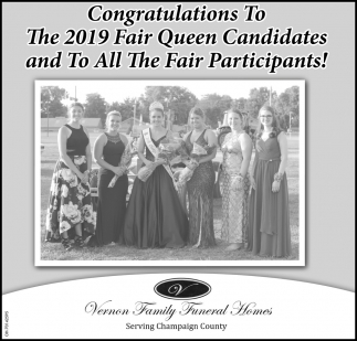 Congratulations To The 2019 Fair Queen Candidates and To All The Fair Participants!