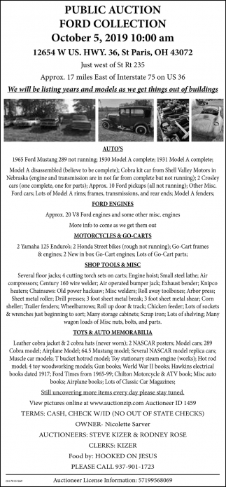 Public Auction Ford Collection - October