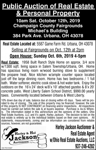 Public Auction of Real Estate & Personal Property - October 12th