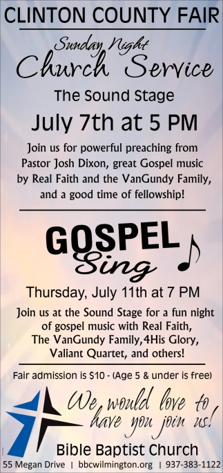 Church Service July 7th / Gospel Sing July 11th