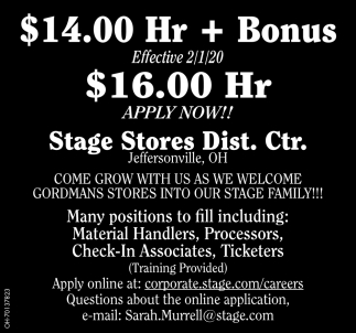 $14.00 Hr + Bonus Effective 2/1/20 $16.00 Hr Apply Now!