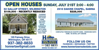Open Houses July 21st