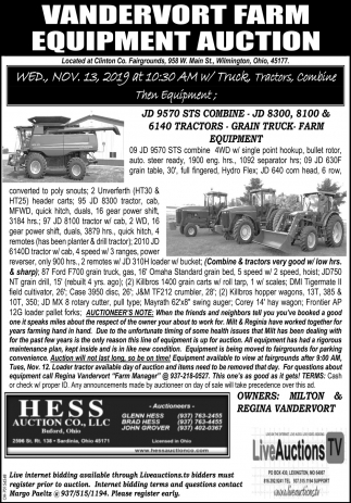 Vandervort Farm Equipment Auction - Nov 13