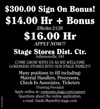 $300.00 Sign on Bonus!