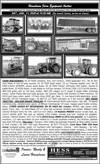 Hanselman Farm Equipmemt Auction - Jan 11