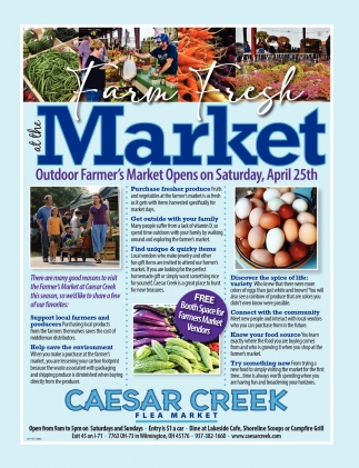 Outdoor Farmer's Markett Opens on Saturday, April 25th
