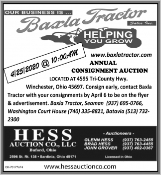 Annual Consignment Auction - April 25