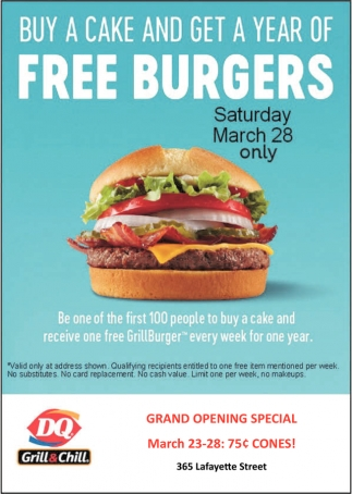 Buy a Cake and Get a Year of Free Burgers