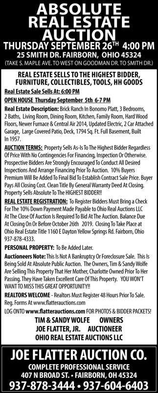 Absolute Real Estate Auction - September 26th