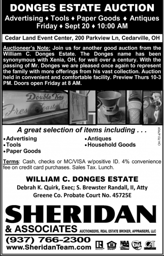 Donges Estate Auction - Sept 20