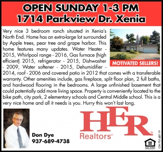 Open Sunday - 1714 Parkview Dr. Xenia