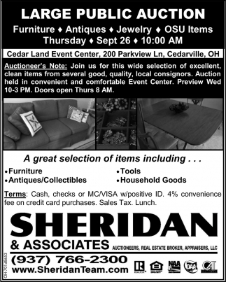 Large Public Auction - Sept 26