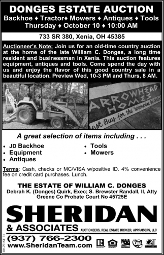 Donges Estate Auction - October 10