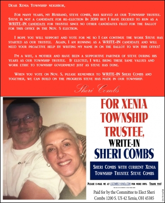 Elect Sheri Combs For Xenia Township Trustee