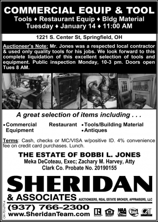 Commercial Equip & Tool Auction