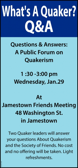 A Public Forum on Quakerism