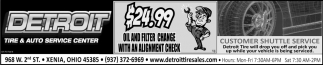 $24.99 Oil and Filter Change With An Alignment Check